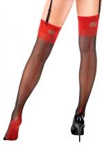 Bas couture Carmen  noir et rouge - Anne d'Alès : Bas nylon sexy effet rétro avec coutures à porter avec des jarretelles, une création Anne d'Ales.