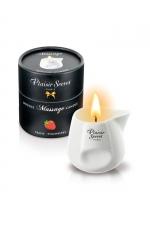 Bougie de massage - Fraise : Bougie érotique se transformant en huile de massage sensuelle au goût gourmand de fraise.