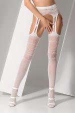 Collants ouverts S020 - Blanc : Collants ouverts en résille blanche fantaisie avec découpe porte-jarretelles sexy.
