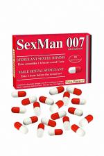 Aphrodisiaque SexMan 007 (20 gélules) : 20 Gélules aphrodisiaques pour hommes, pour booster la virilité et les performances sexuelles.