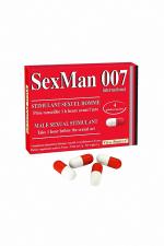 Aphrodisiaque SexMan 007 (4 gélules) : 4 Gélules aphrodisiaques pour hommes, pour booster la virilité et les performances sexuelles.