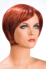 Perruque Daisy rousse : Perruque rousse aux cheveux courts en carré moderne à la nuque dégradée.