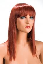 Perruque Allison rousse : Perruque rousse longue et à frange effilée pour changer de look.