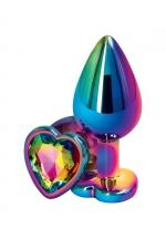 Plug anal aluminium coeur multicolore M - Rear Assets : Plug anal taille Medium en aluminium , dimensions 8 x 3,4 cm, corps et bijou multicolores, base en forme de cœur.