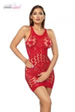 Robe résille Freya Rouge - Anaïs : Robe en résille fantaisie structurée en chevrons de motifs coeur et de dentelle.