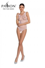 Body résille ouvert BS086 - Blanc : Body blanc très sexy en résille avec ouverture intime, marque Passion.